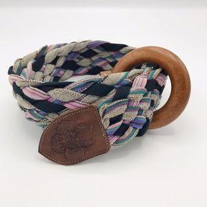 Colorful Pink Purple Black Rope Braided Wood Belt